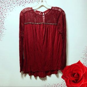 Maurice's Red Long Sleeve Crochet Lace Top